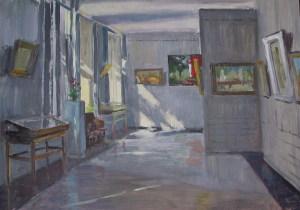 В галерее. 2000, картон, масло, 46х64