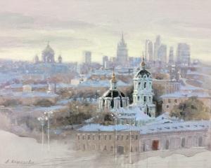 Утро Москвы. х.. темпера. 40х50см.